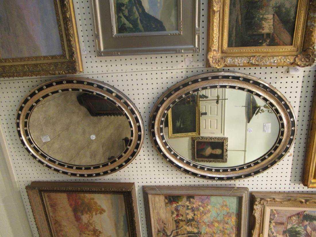 Pair of Italian Silvered and Ebonized Mirrors - 5