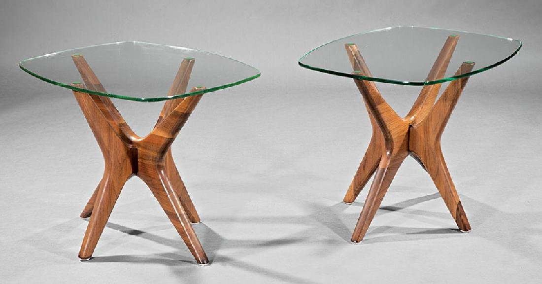 Adrian Pearsall Walnut and Glass End Tables - 2