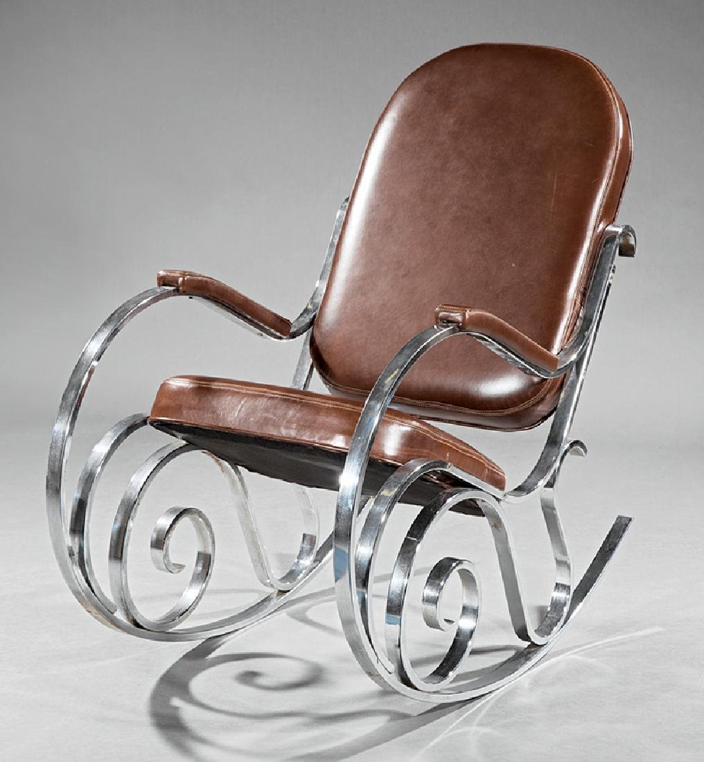 Maison Jansen Chrome and Leather Rocking Chair