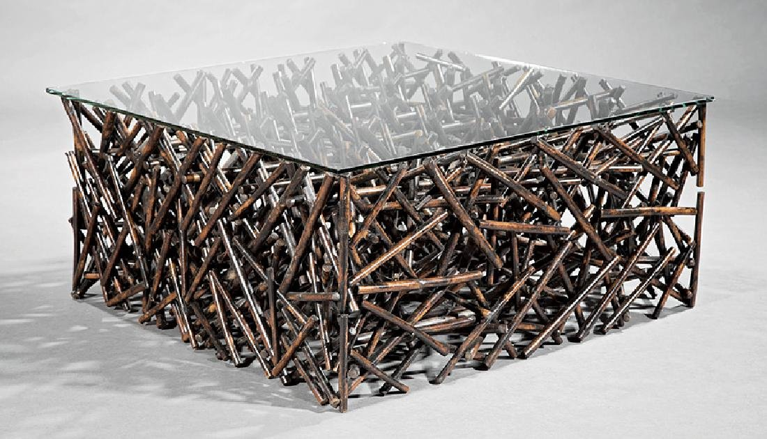 Contemporary Patinated Wood, Glass Coffee Table