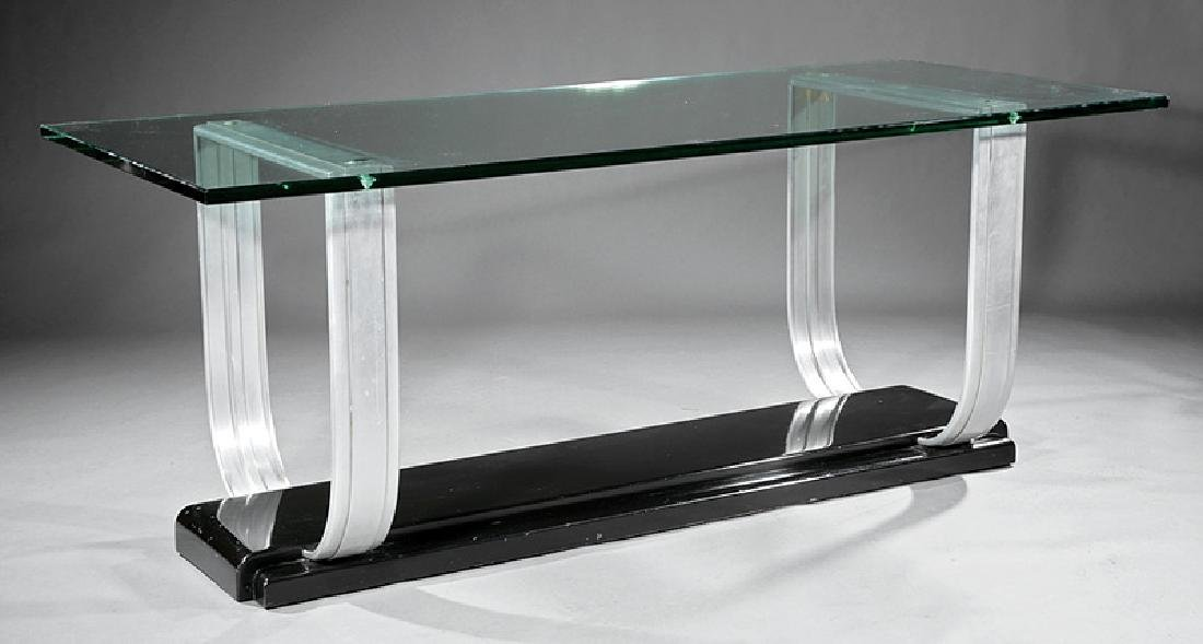 Art Moderne Chrome and Glass Console Table