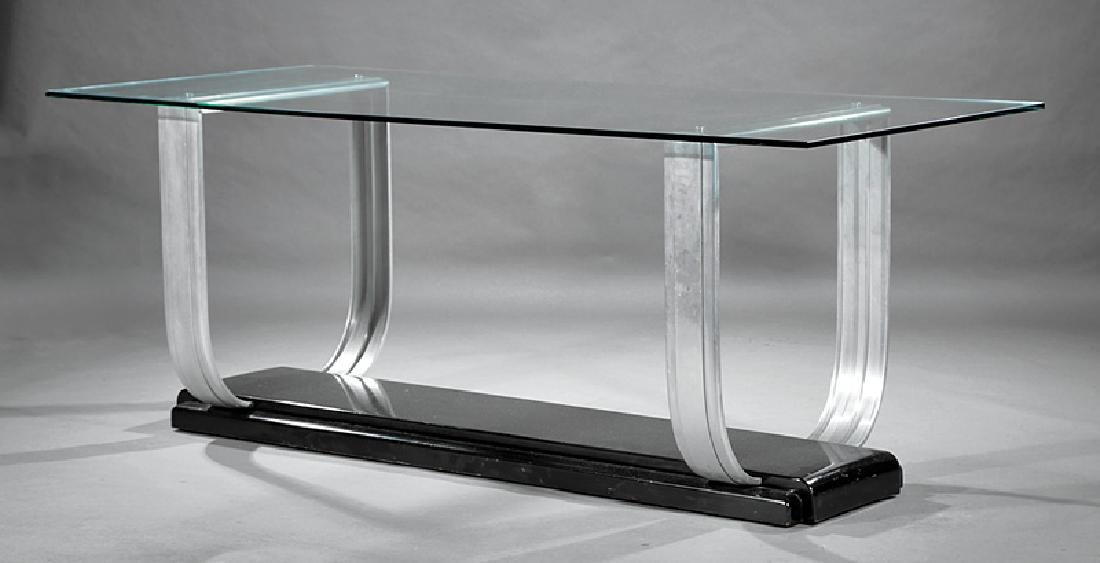 Art Moderne Chrome and Glass Console Table - 2