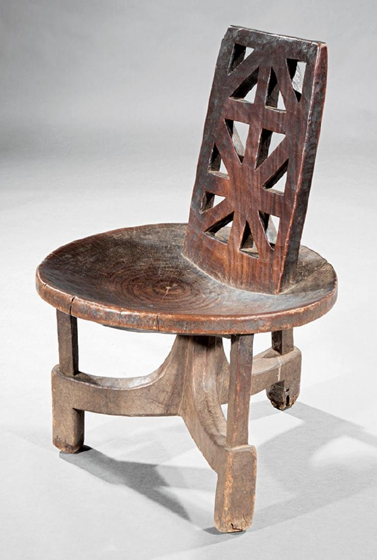 Ethiopian Carved Hardwood Side Chair