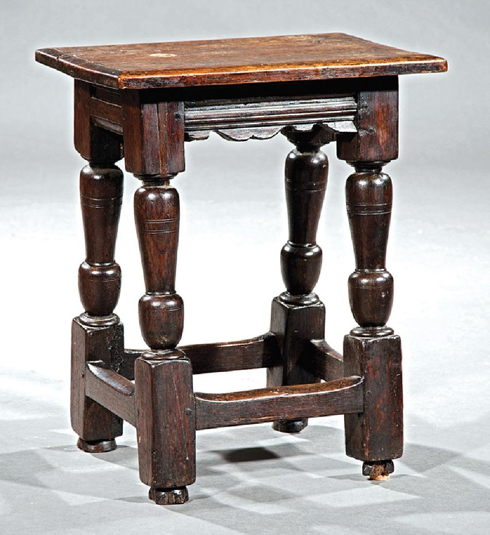 Antique English Carved Oak Joint Stool