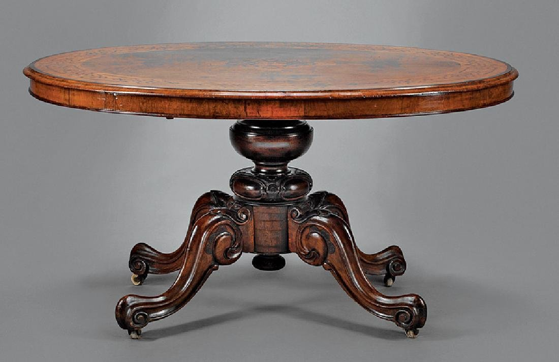 Fine English Carved and Inlaid Walnut Table