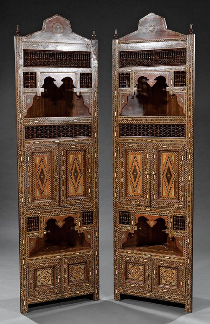 Bone and Hardwood Inlaid Corner Cabinets