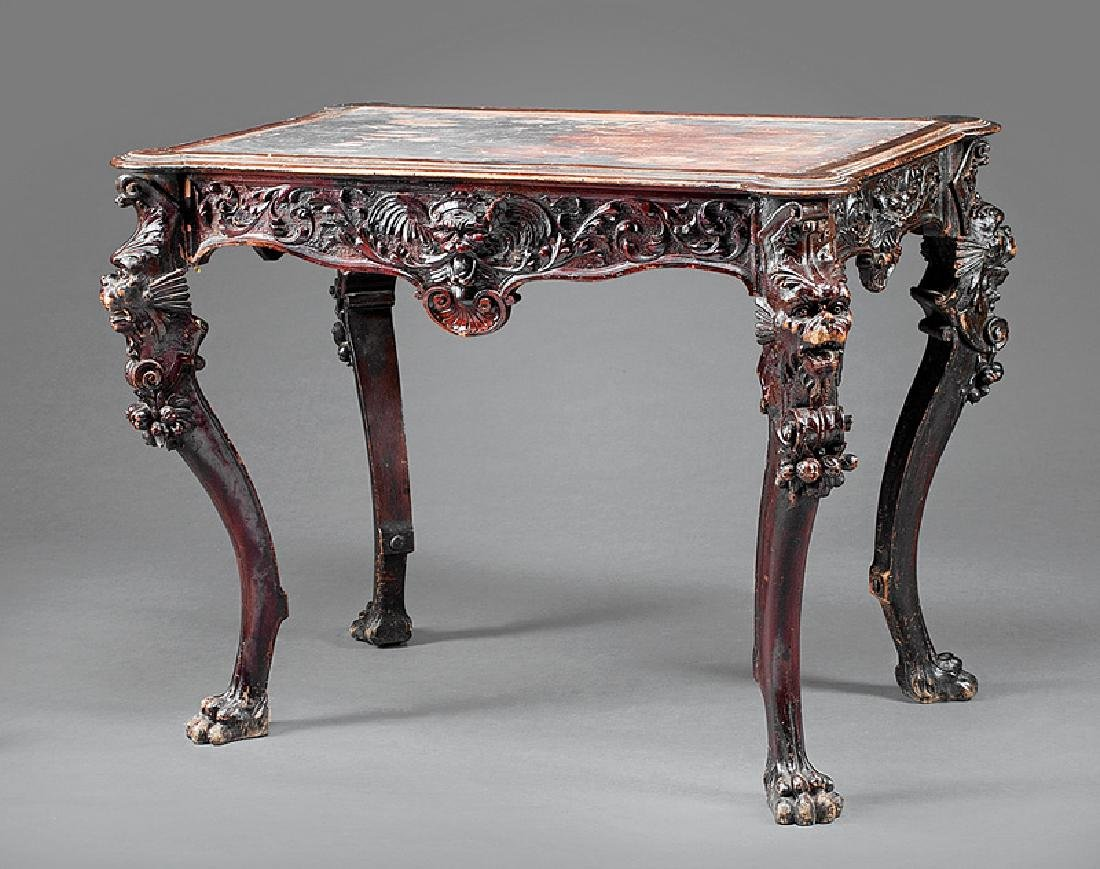 Continental Carved Mahogany Library Table