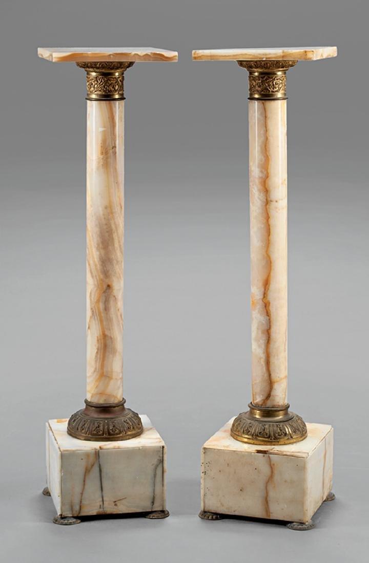 Napoleon III Bronze-Mounted Onyx Pedestals