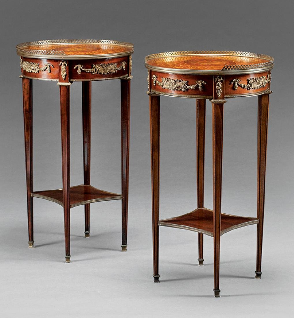 Louis XVI-Style Bronze-Mounted Side Tables