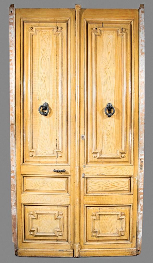 """Pair of Continental """"Oak"""" Faux Bois Doors"""