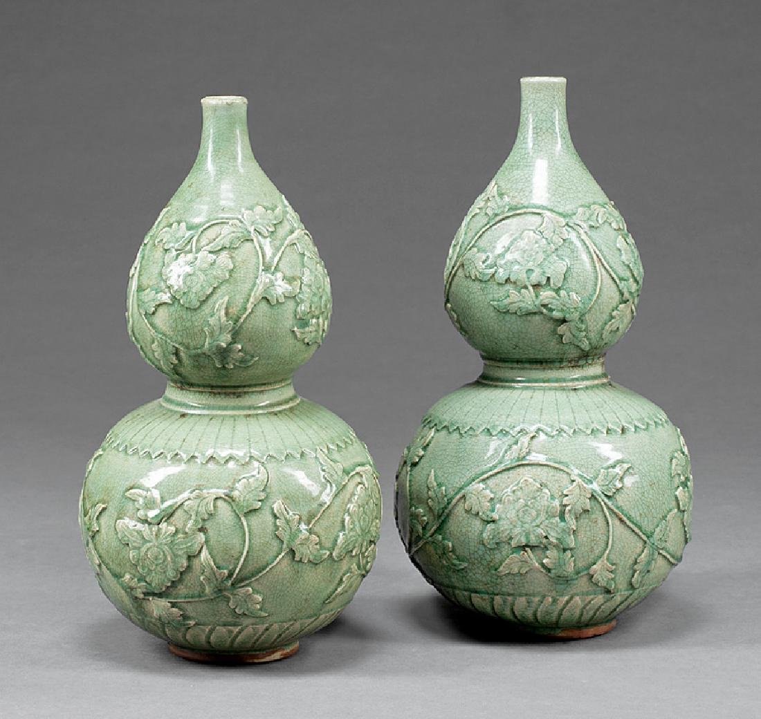 Chinese Celadon Porcelain Doulbe Gourd Vases