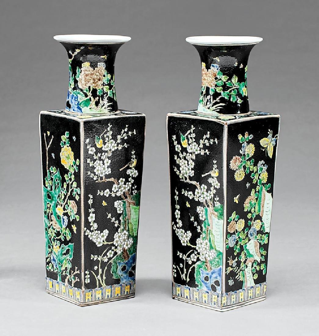 Chinese Famille Noire Porcelain Vases