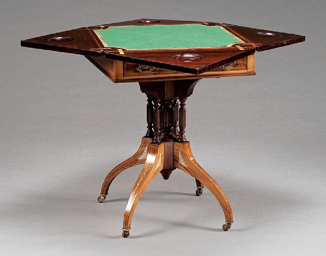 Edwardian Inlaid Rosewood Envelope Games Table - 2