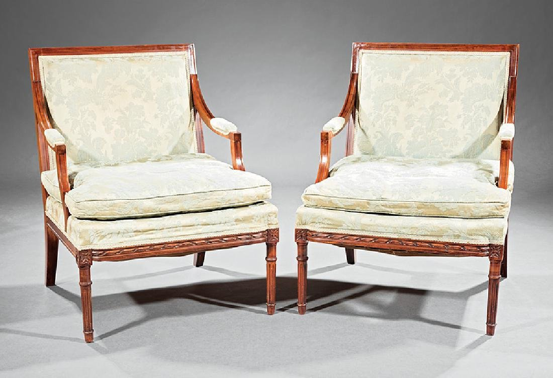 Louis XVI-Style Carved Fruitwood Fauteuils