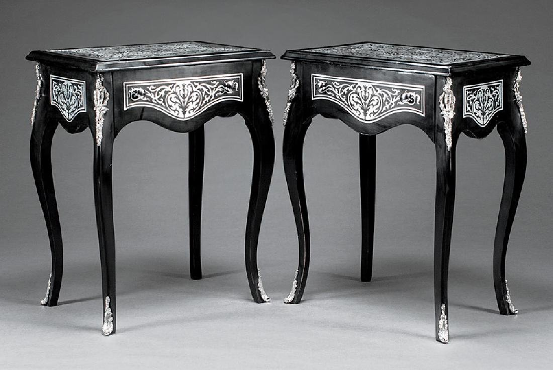 Ebonized and Argente Inlaid Occasional Tables