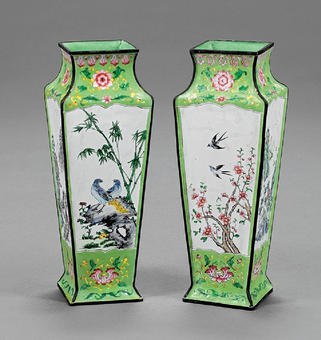 "Pair of Chinese Export ""Beijing"" Enamel Vases"