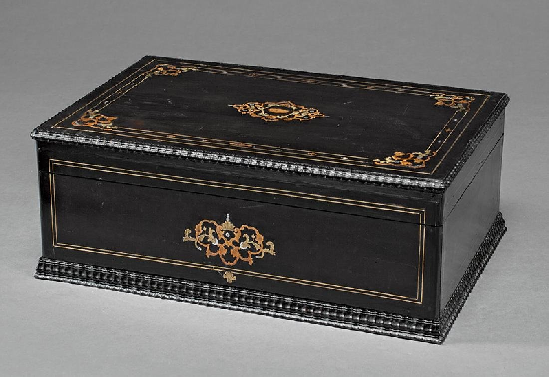 French Brass Inlaid and Ebonized Box