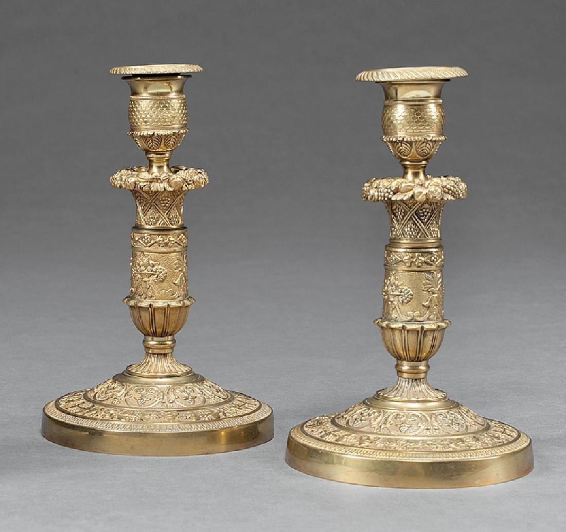 Pair of Charles X-Style Bronze  Candlesticks