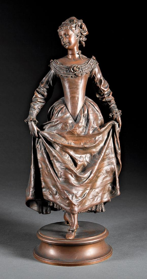 Continental Bronze Figure of Young Maiden
