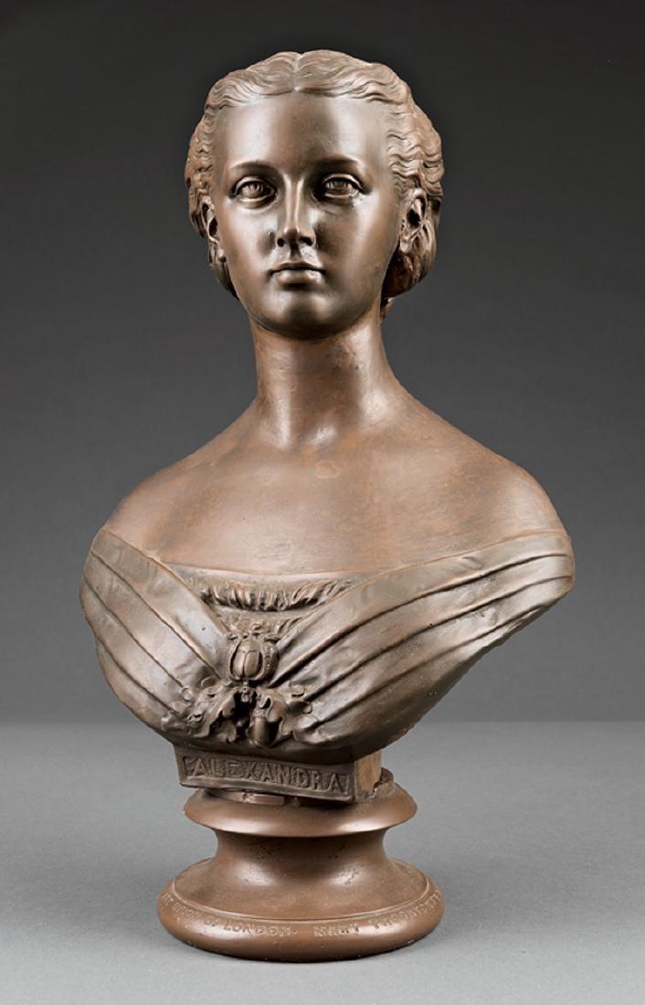 Bronze-Patinated Plaster Bust of Queen Alexandra
