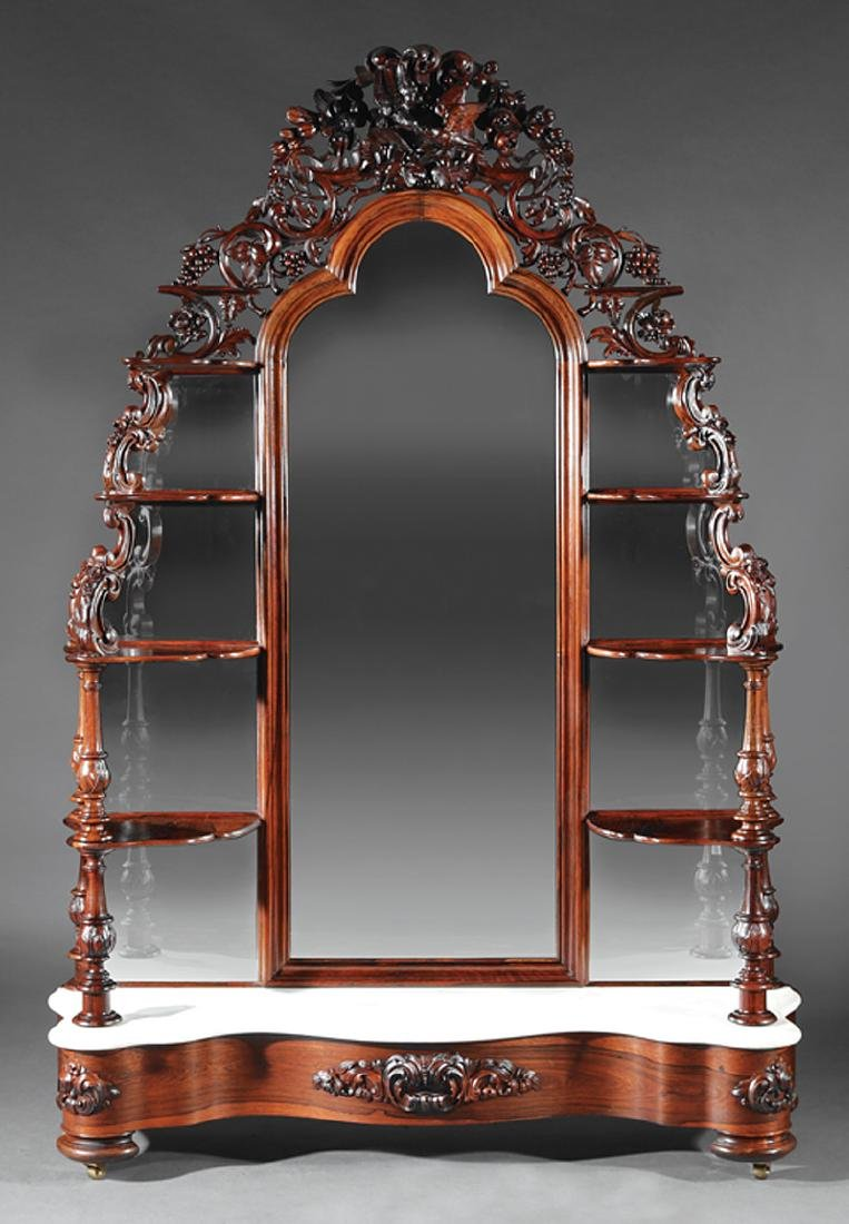American Rococo Carved and Laminated Rosewood Etagere
