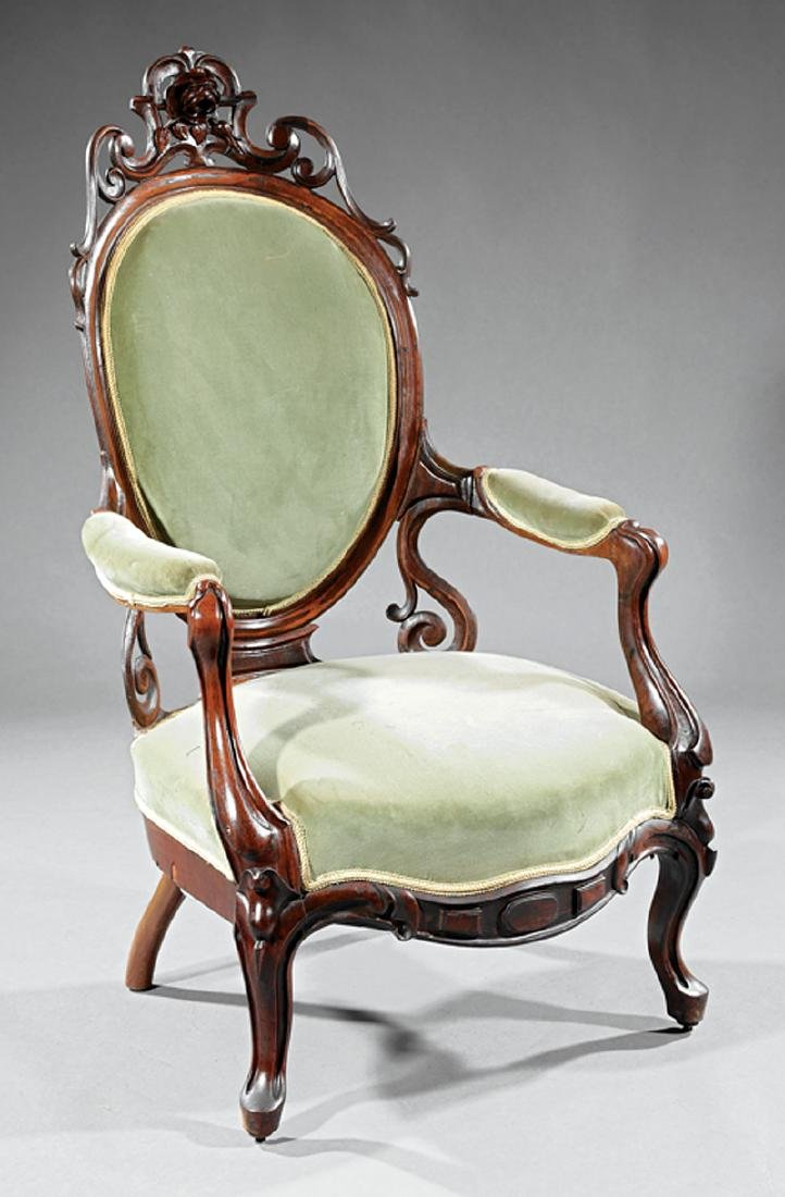 Carved Rosewood Armchair attr. John Henry Belter