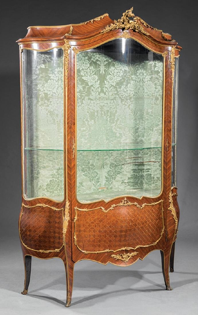 Bronze-Mounted Kingwood Parquetry Vitrine