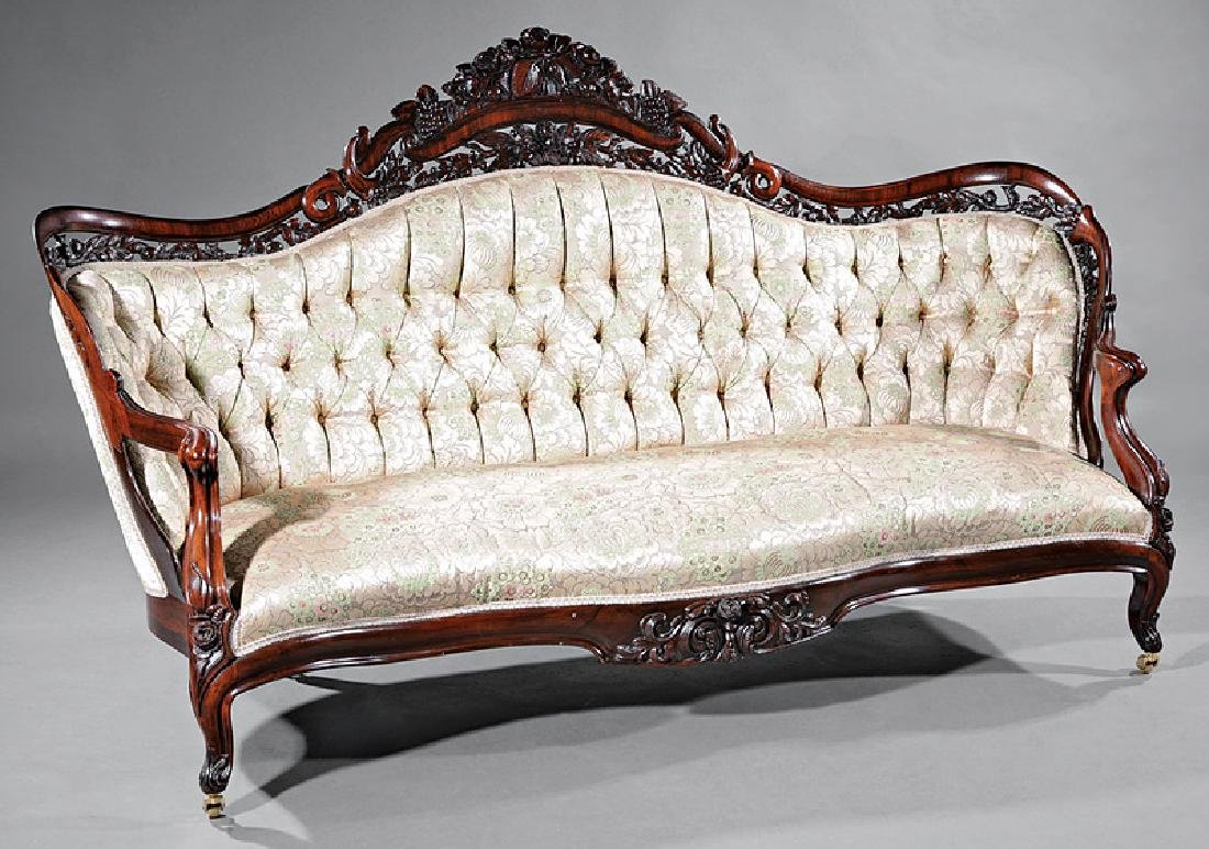 Carved, Laminated Rosewood Sofa, attr. Belter