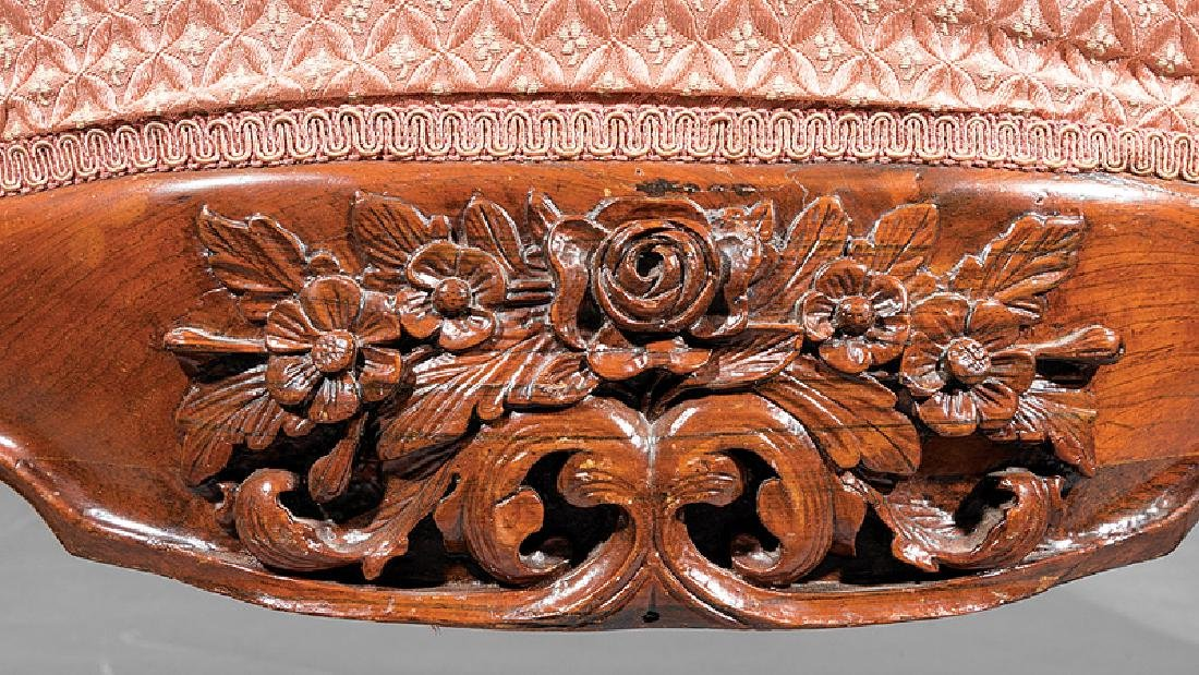 Carved and Laminated Rosewood Sofa, attr. Belter - 5