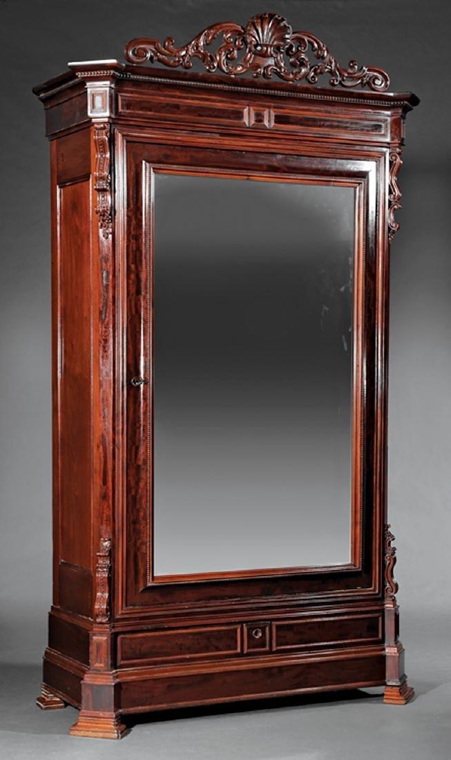 American Rococo Carved Mahogany Mirrored Armoire