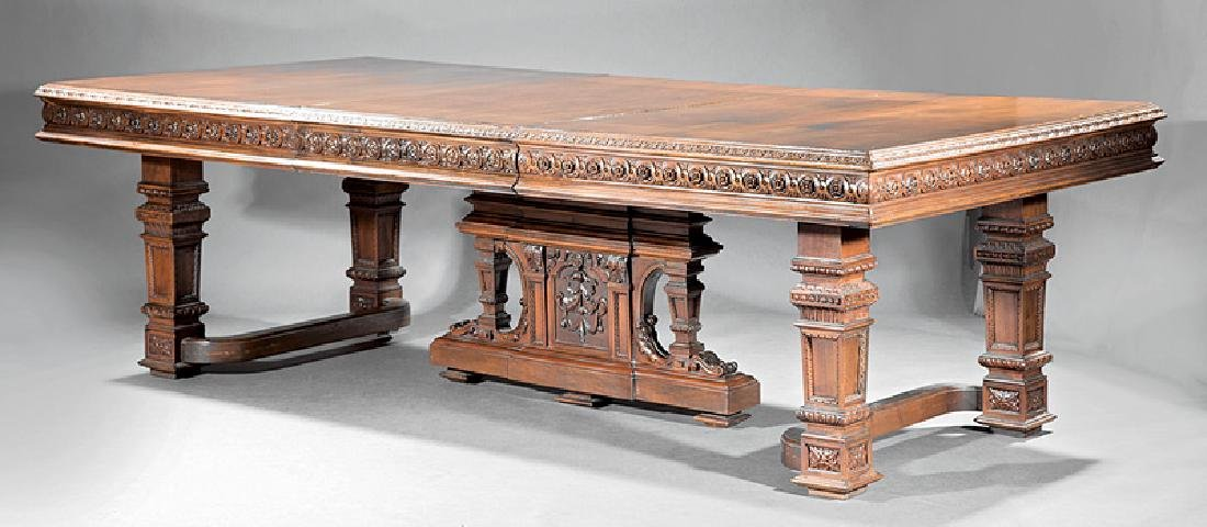 American Carved Walnut Dining Table