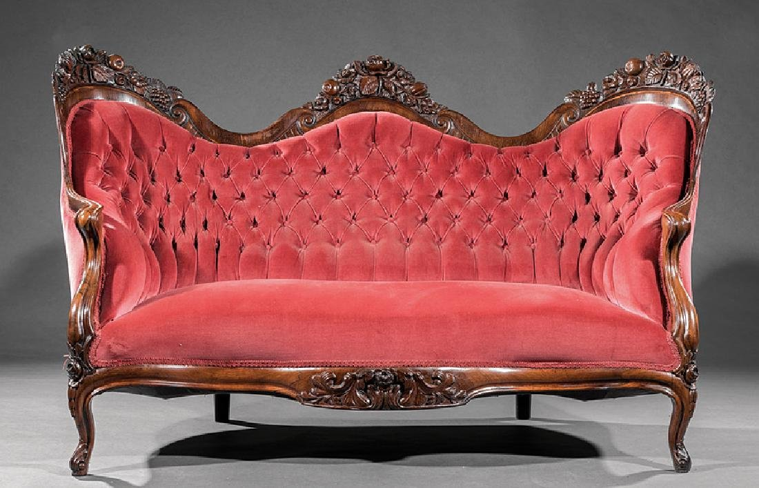 Carved and Laminated Rosewood Sofa, attr. Belter - 2