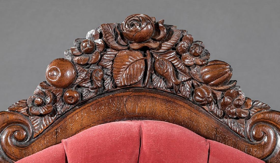 Carved and Laminated Rosewood Sofa, attr. Belter - 3