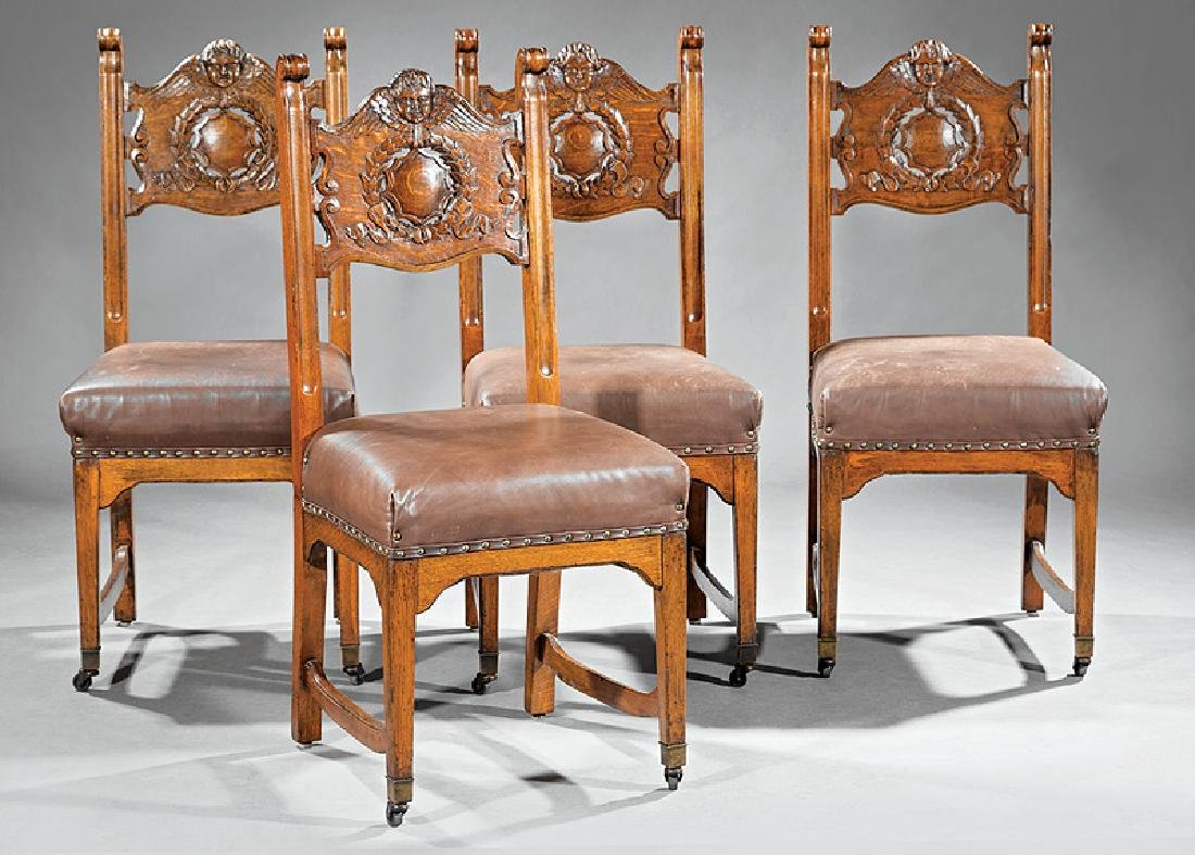 American Carved Oak Side Chairs