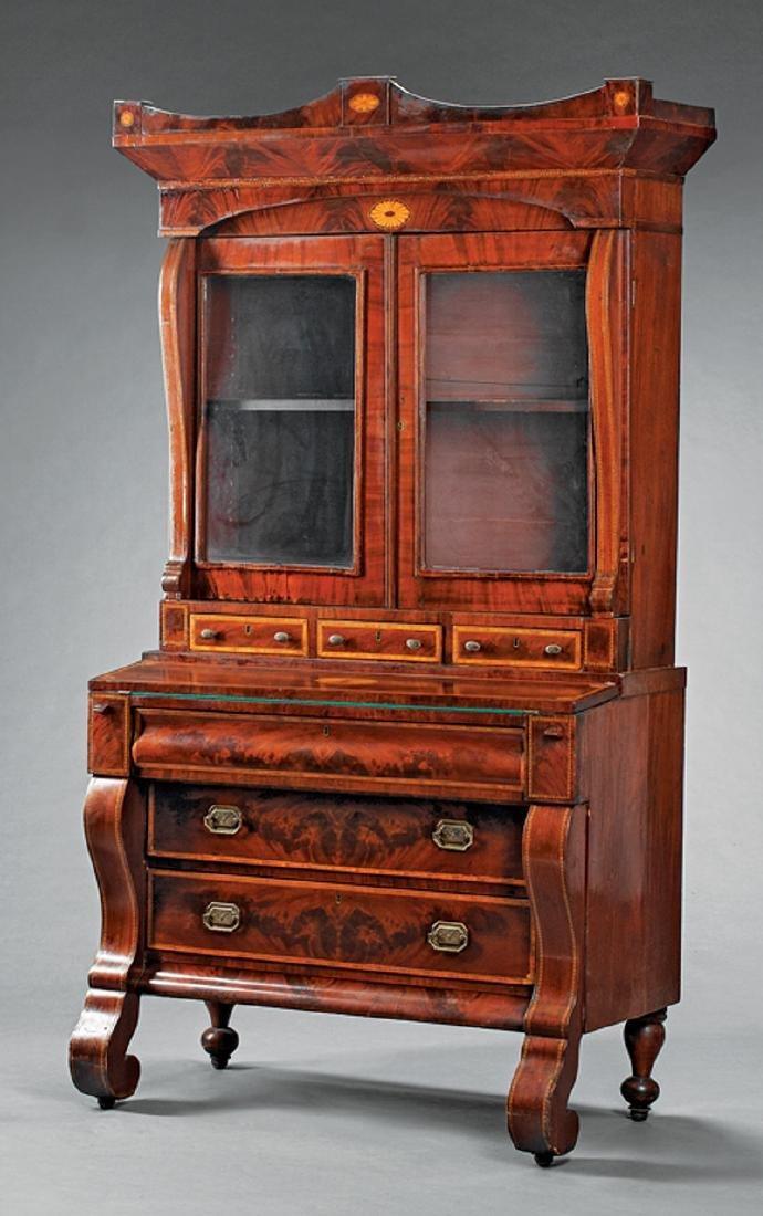 Inlaid Mahogany Secretary Bookcase