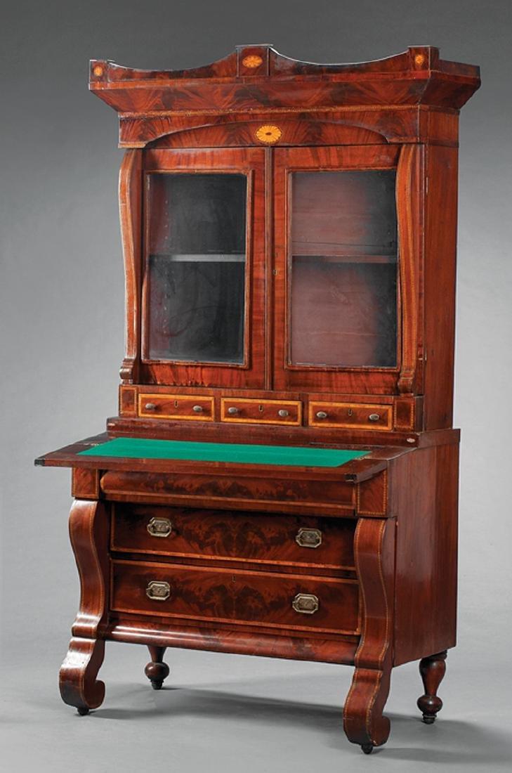 Inlaid Mahogany Secretary Bookcase - 2