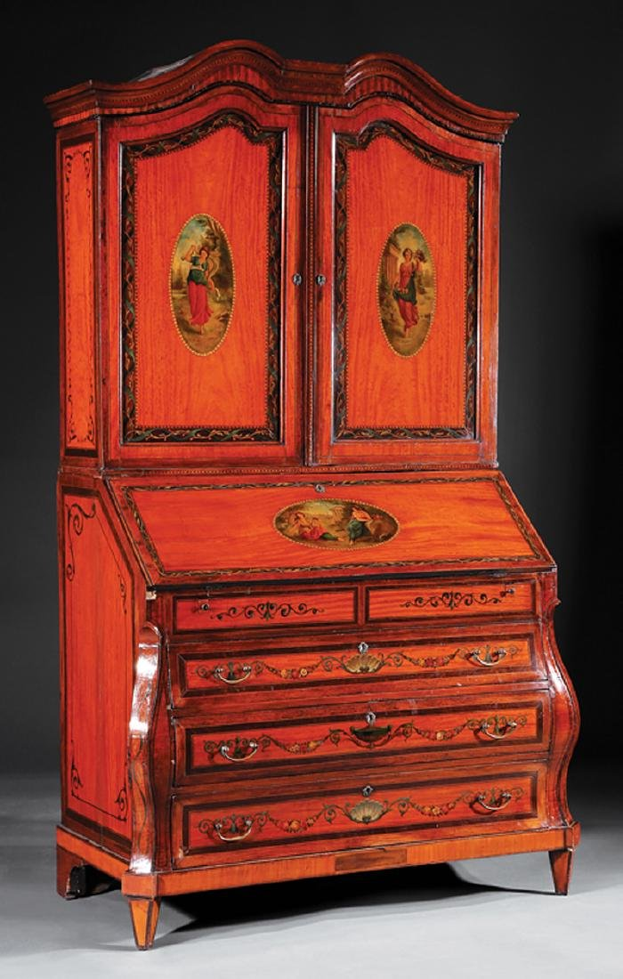 Satinwood, Inlaid, Paint-Decorated Secretary Desk