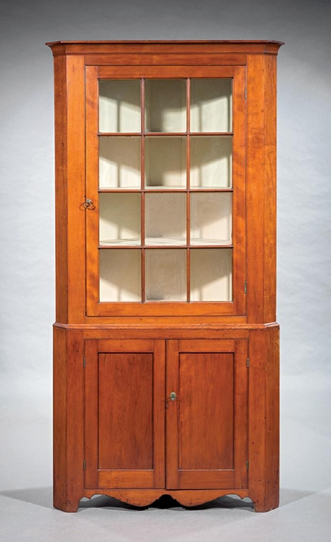 Southern Late Federal Cherrywood Corner Cupboard