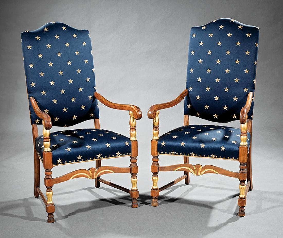 American Colonial-Style Mahogany Armchairs - 2