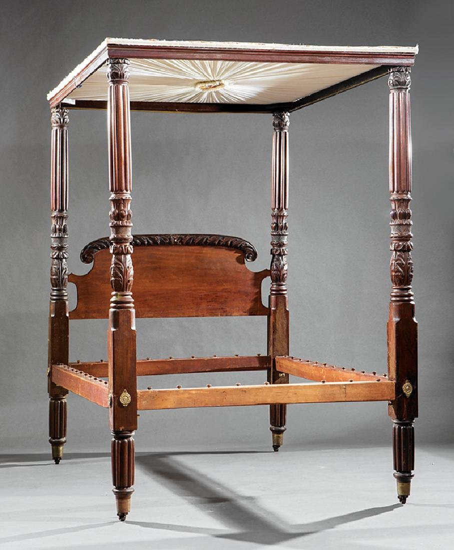 American Classical Carved Mahogany Tester Bed