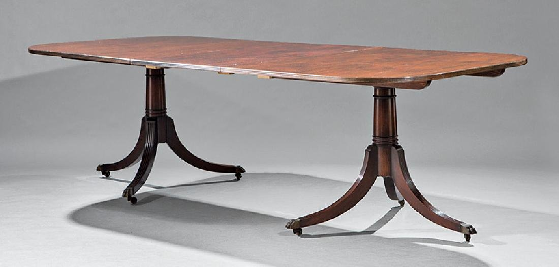 Carved Mahogany Two Pedestal Dining Table