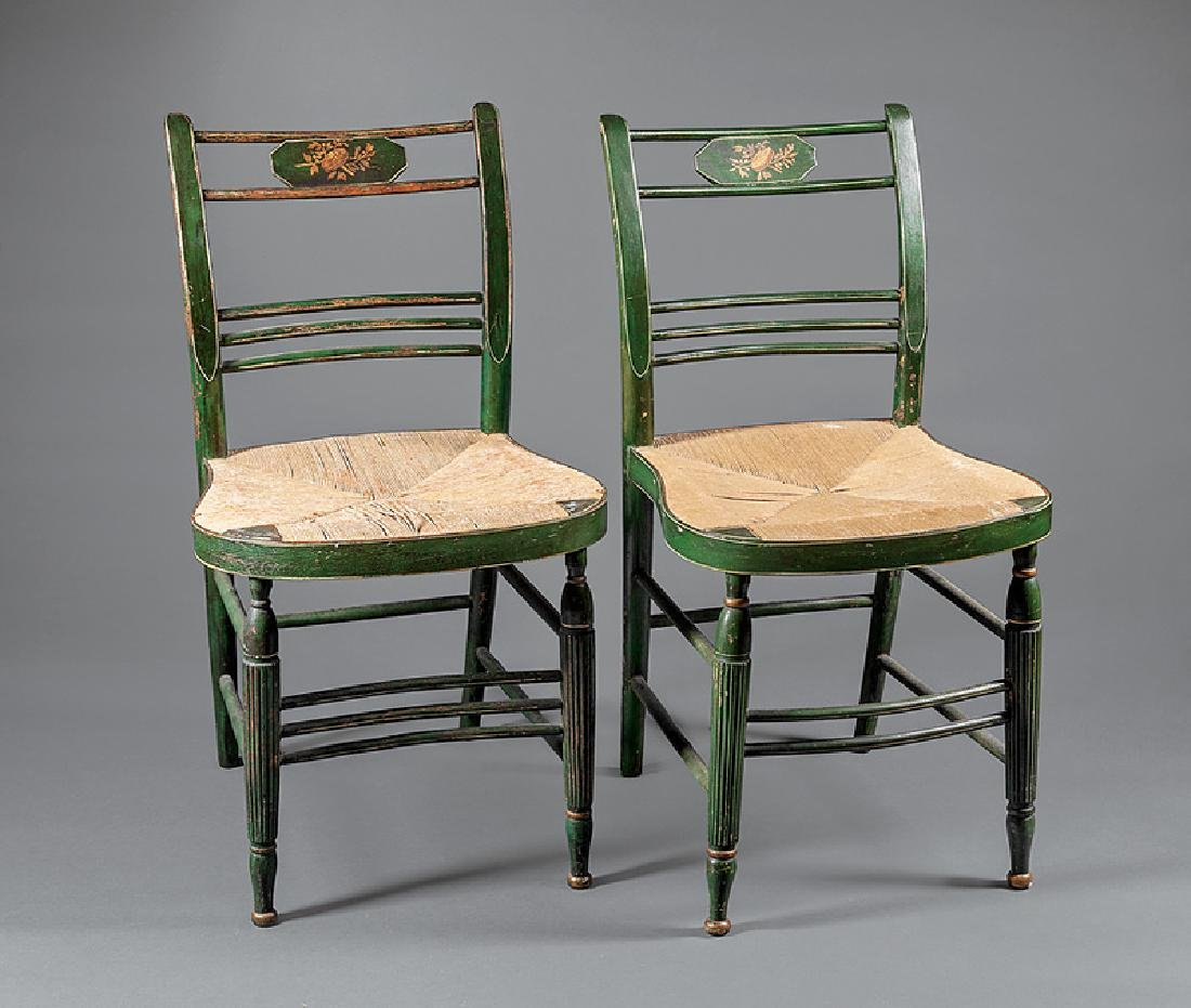American Federal Painted and Parcel Gilt Chairs