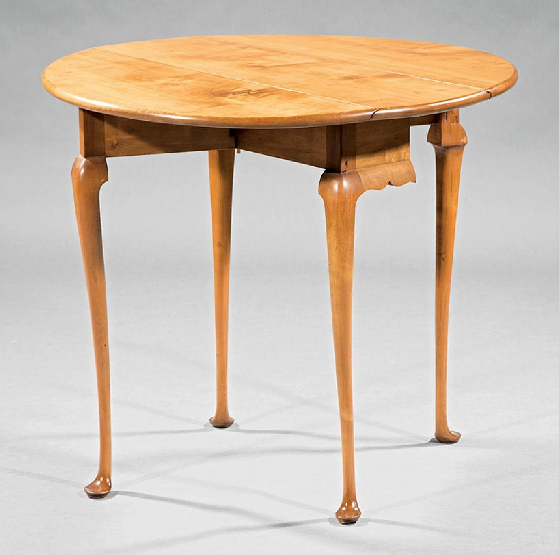 Queen Anne-Style Maple Drop-Leaf Tea Table