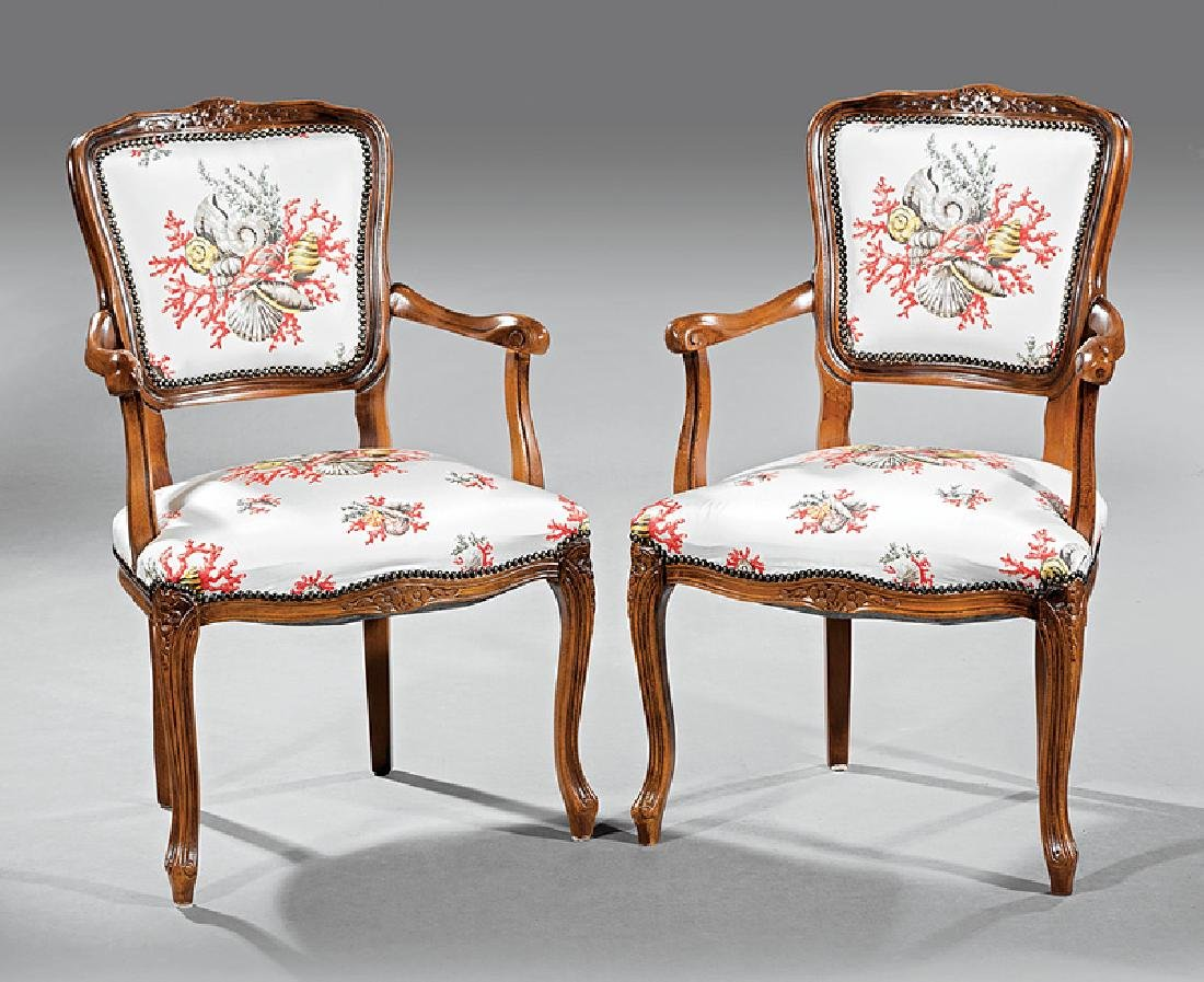 Continental Louis XV-Style Walnut Fauteuils