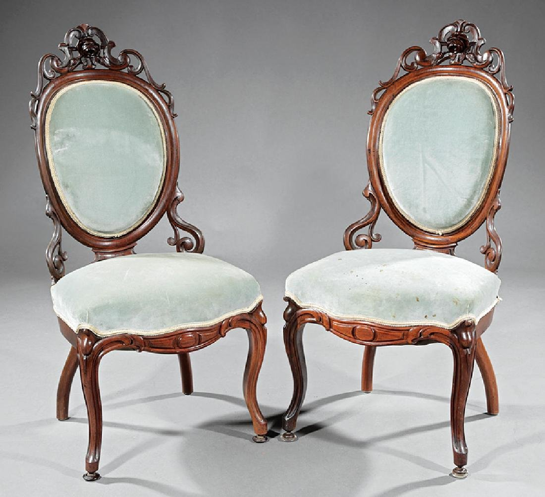 Carved Rosewood Side Chairs attr. Belter