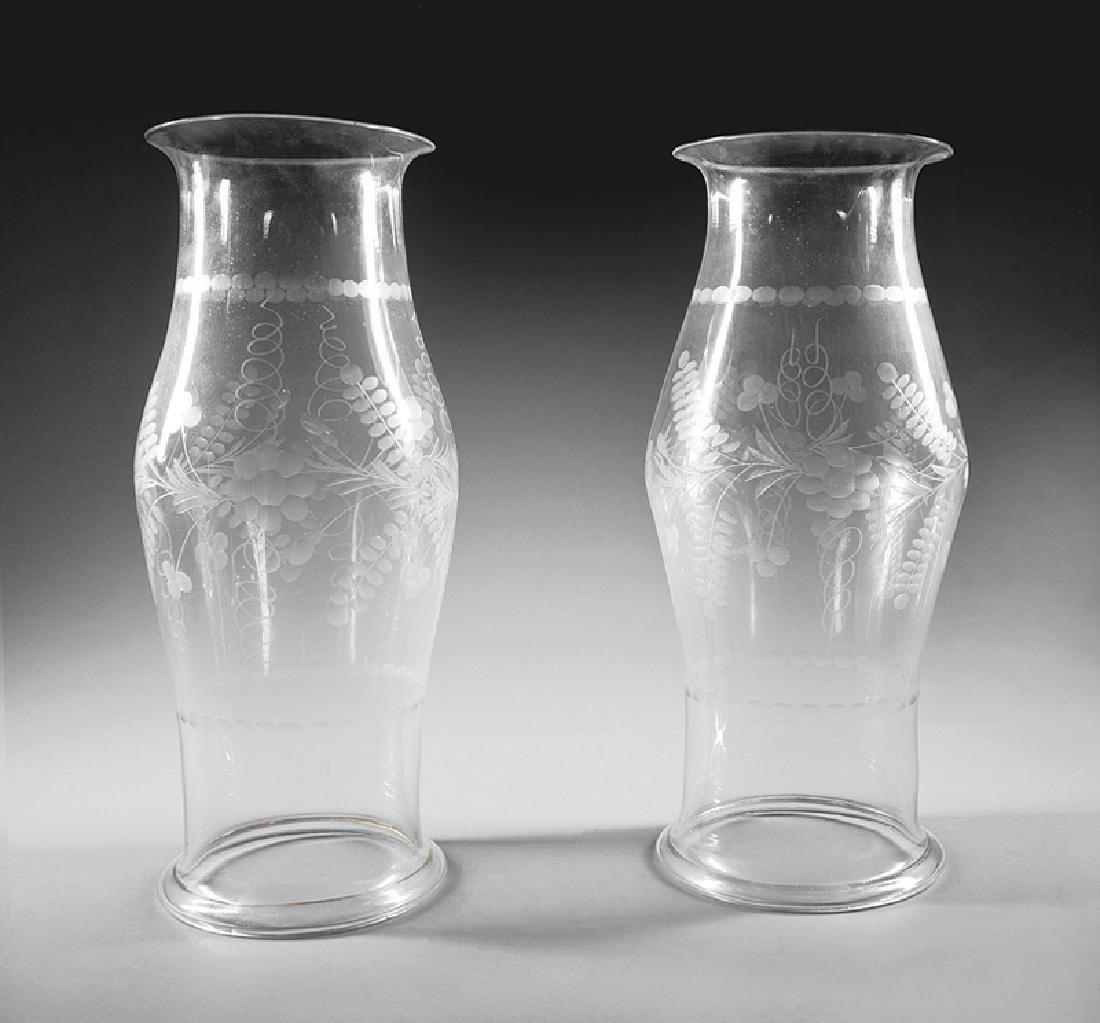 American or English Cut Glass Hurricane Shades