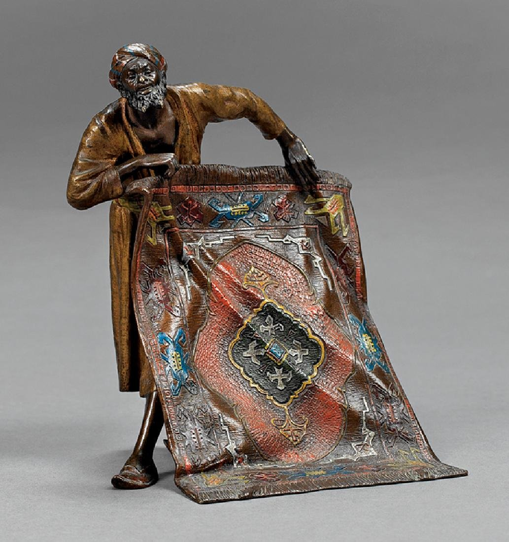 Austrian Cold-Painted Bronze of a Rug Seller