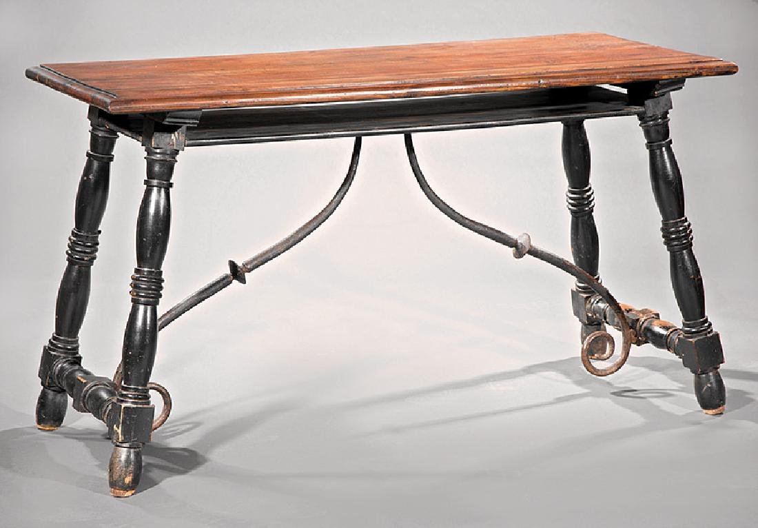 Spanish Carved and Ebonized Trestle Table