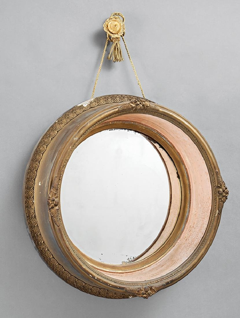 French Painted and Parcel Gilt Porthole Mirror