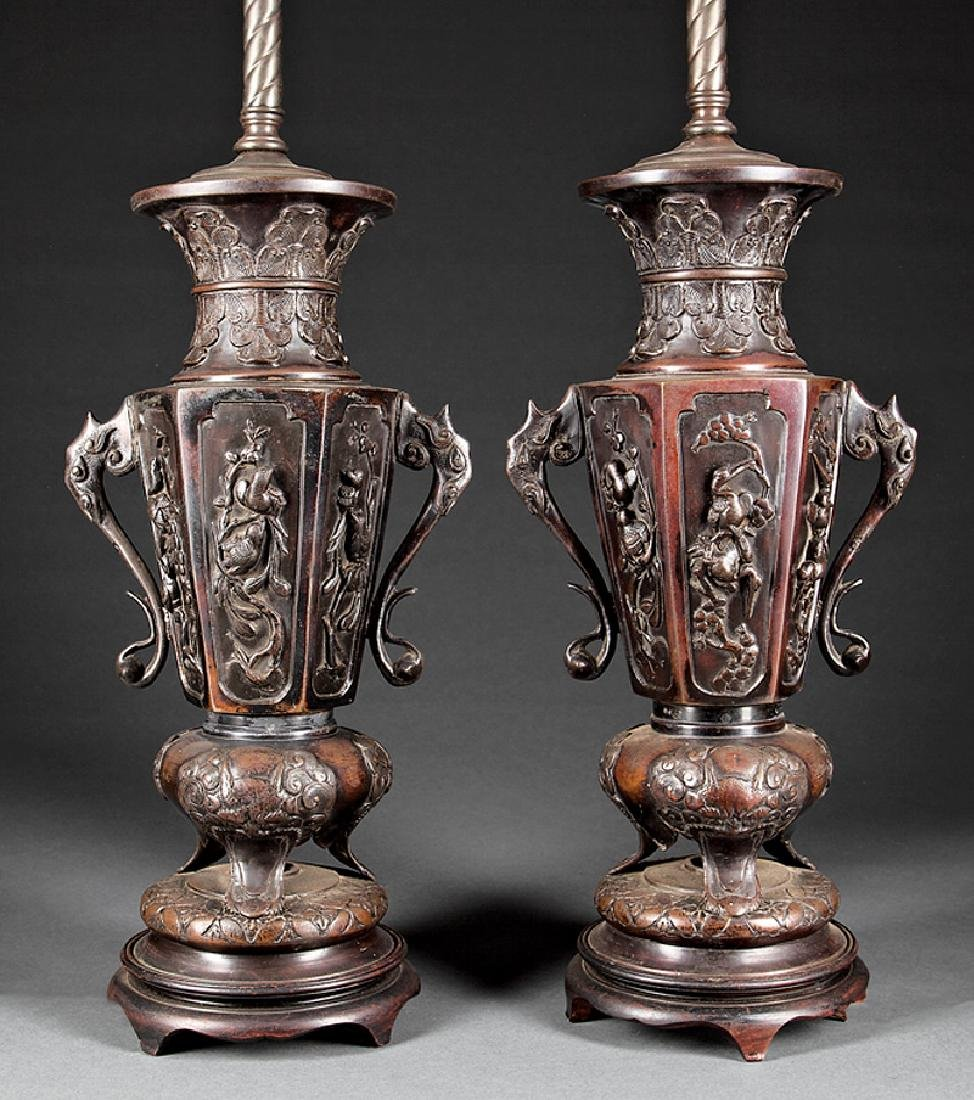 Pair of Japanese Patinated Bronze Vases